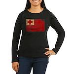 Tonga Flag Women's Long Sleeve Dark T-Shirt