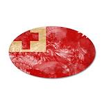 Tonga Flag 38.5 x 24.5 Oval Wall Peel