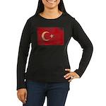 Turkey Flag Women's Long Sleeve Dark T-Shirt