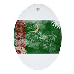 Turkmenistan Flag Ornament (Oval)