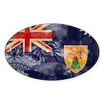 Turks and Caicos Flag Sticker (Oval 10 pk)
