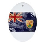 Turks and Caicos Flag Ornament (Oval)