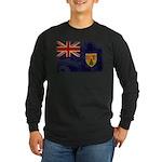 Turks and Caicos Flag Long Sleeve Dark T-Shirt