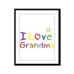 I Love Grandma Framed Panel Print