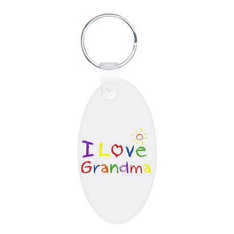 I Love Grandma Aluminum Oval Keychain