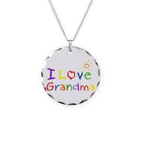 I Love Grandma Necklace Circle Charm