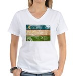 Uzbekistan Flag Women's V-Neck T-Shirt