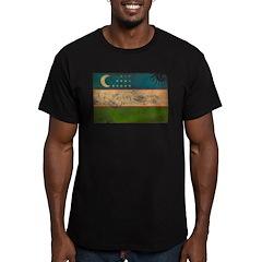 Uzbekistan Flag Men's Fitted T-Shirt (dark)