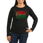 Vanuatu Flag Women's Long Sleeve Dark T-Shirt