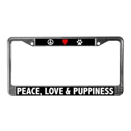 Peace, Love, Puppiness License Plate Frame