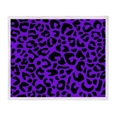 Purple and Black Leopard Spot Throw Blanket
