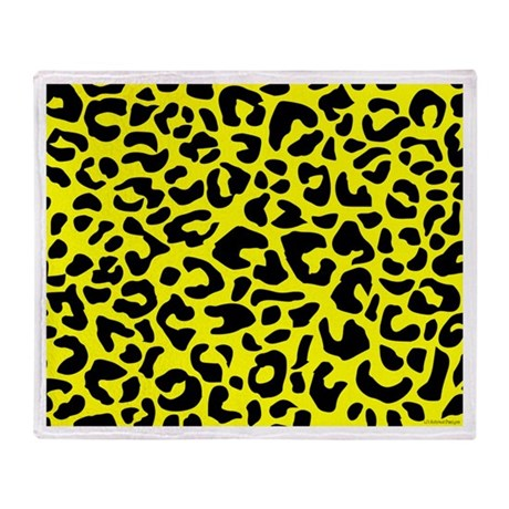 Yellow and Black Leopard Spot Throw Blanket