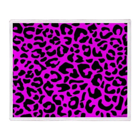 Pink and Black Leopard Spot Throw Blanket