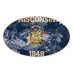Wisconsin Flag Sticker (Oval)