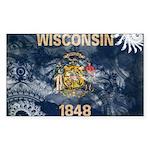 Wisconsin Flag Sticker (Rectangle)
