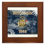 Wisconsin Flag Framed Tile