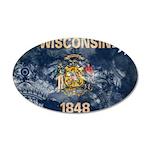 Wisconsin Flag 38.5 x 24.5 Oval Wall Peel