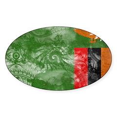 Zambia Flag Sticker (Oval 10 pk)