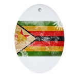 Zimbabwe Flag Ornament (Oval)