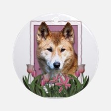 Mothers Day Pink Tulips Dingo Ornament (Round)