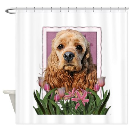 Mothers Day Pink Tulips Cocker Shower Curtain