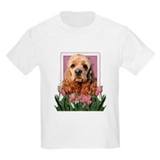 Mothers Day Pink Tulips Cocker T-Shirt