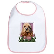 Mothers Day Pink Tulips Cocker Bib