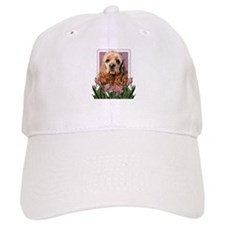 Mothers Day Pink Tulips Cocker Baseball Cap