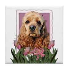 Mothers Day Pink Tulips Cocker Tile Coaster
