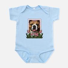 Mothers Day Pink Tulips Bulldog Infant Bodysuit