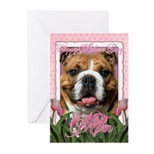 Mothers Day Pink Tulips Bulldog Greeting Cards (Pk