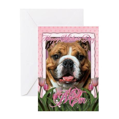 Mothers Day Pink Tulips Bulldog Greeting Card
