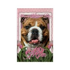 Mothers Day Pink Tulips Bulldog Rectangle Magnet
