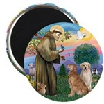 StFrancis-TwoGoldens Magnet