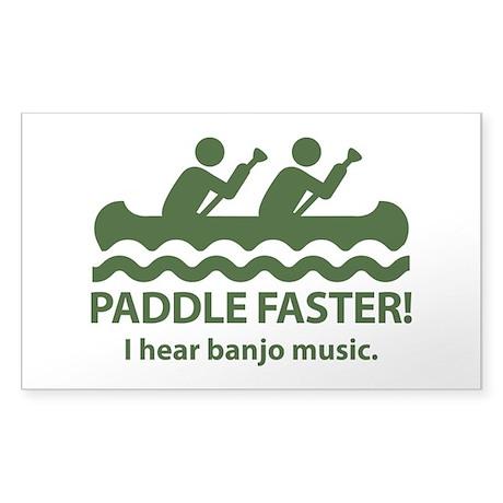 Paddle Faster I Hear Banjo Music Sticker (Rectangl