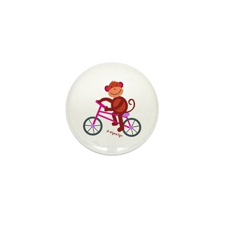 Monkey in Bike - Pink Mini Button (10 pack)