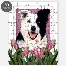 Mothers Day Pink Tulips Border Collie Puzzle