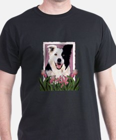 Mothers Day Pink Tulips Border Collie T-Shirt