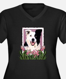 Mothers Day Pink Tulips Border Collie Women's Plus
