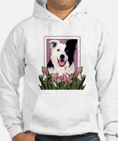 Mothers Day Pink Tulips Border Collie Hoodie