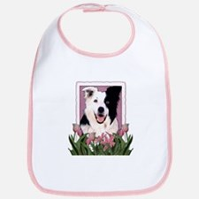 Mothers Day Pink Tulips Border Collie Bib