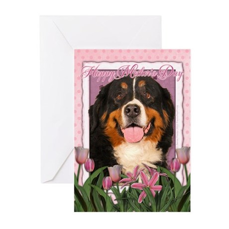 Mothers Day Pink Tulips Bernie Greeting Cards (Pk