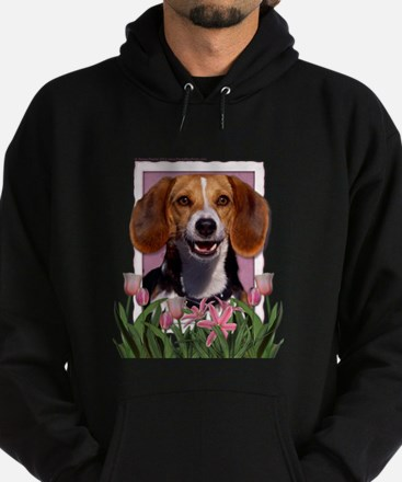 Mothers Day Pink Tulips Beagle Hoodie (dark)
