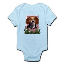 Mothers Day Pink Tulips Beagle Infant Bodysuit