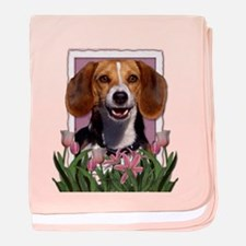 Mothers Day Pink Tulips Beagle baby blanket
