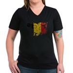 Belgium Flag Women's V-Neck Dark T-Shirt