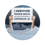 Anchorage AK Record Snow Ornament (Round)