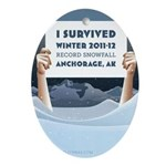 Anchorage AK Record Snow Ornament (Oval)