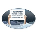 Anchorage AK Record Snow Sticker (Oval 10 pk)