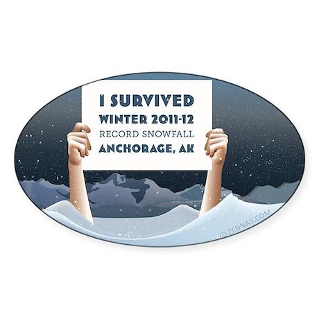 Anchorage AK Record Snow Sticker (Oval)